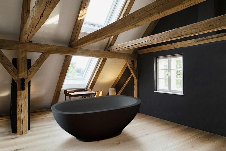 bañeras negras cuadros natural madera