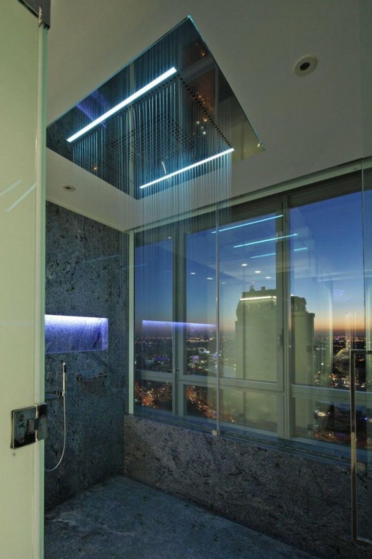 baños modernos con ducha ideas cascada led