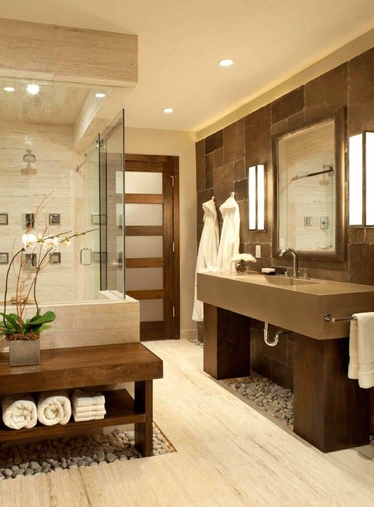 baño moderno marron amarillo deco