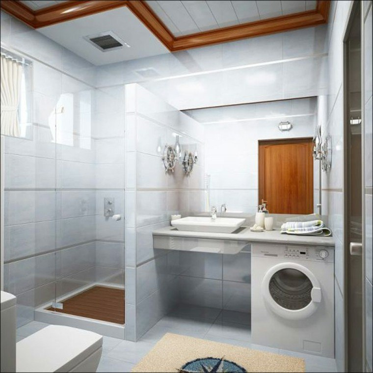 baño estilo moderno pequeño lavadora