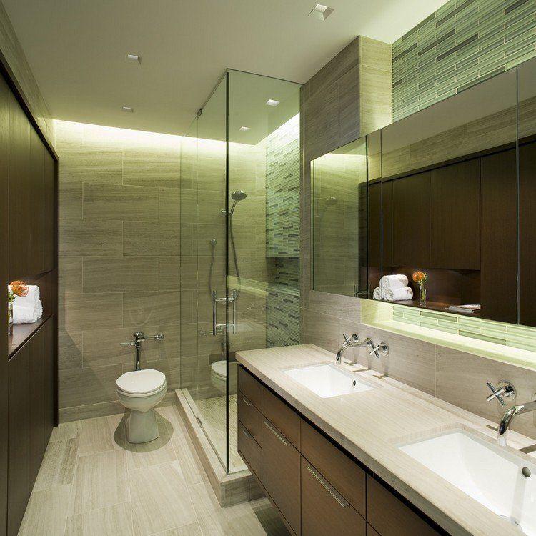 baño moderno azulejos verdes ducha