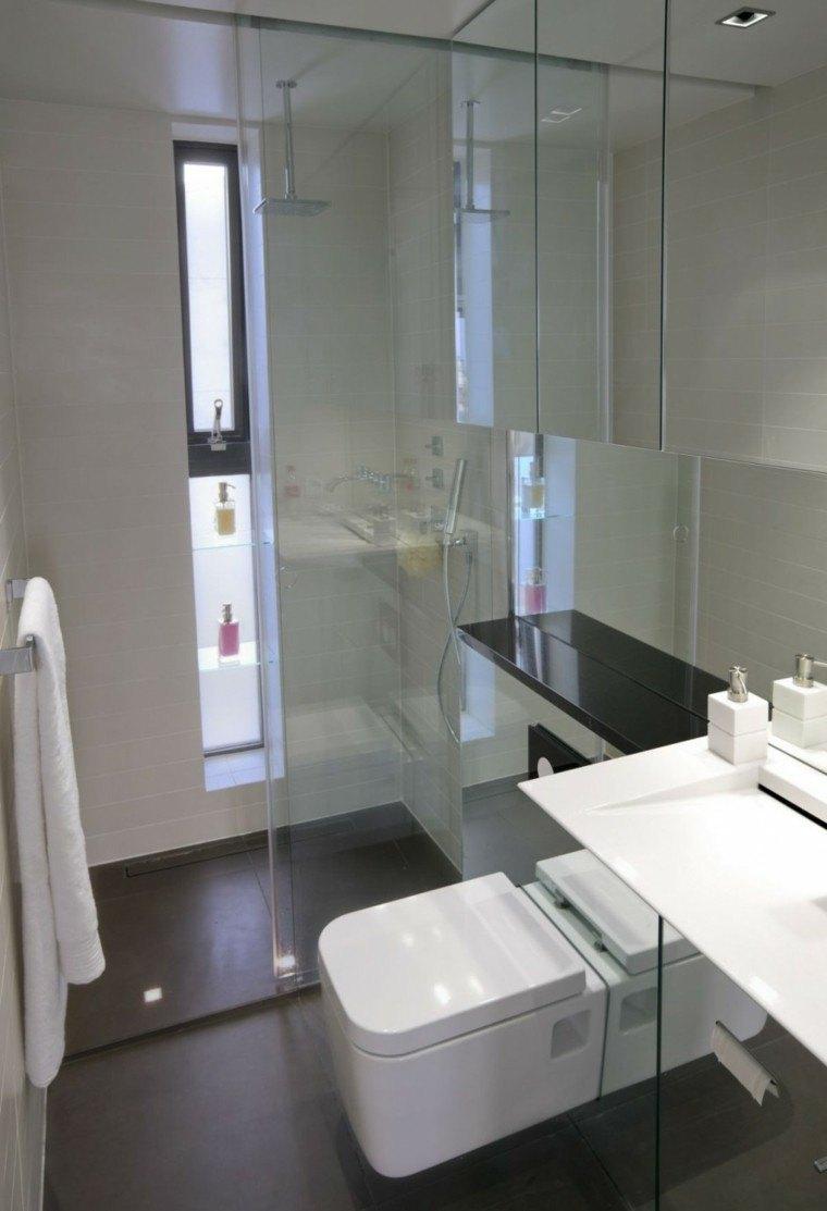 Ba os pequenos con ducha modernos for Modelos de banos sencillos