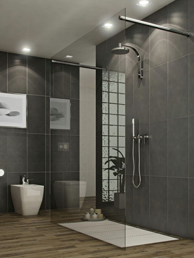 baños modernos con ducha led grises