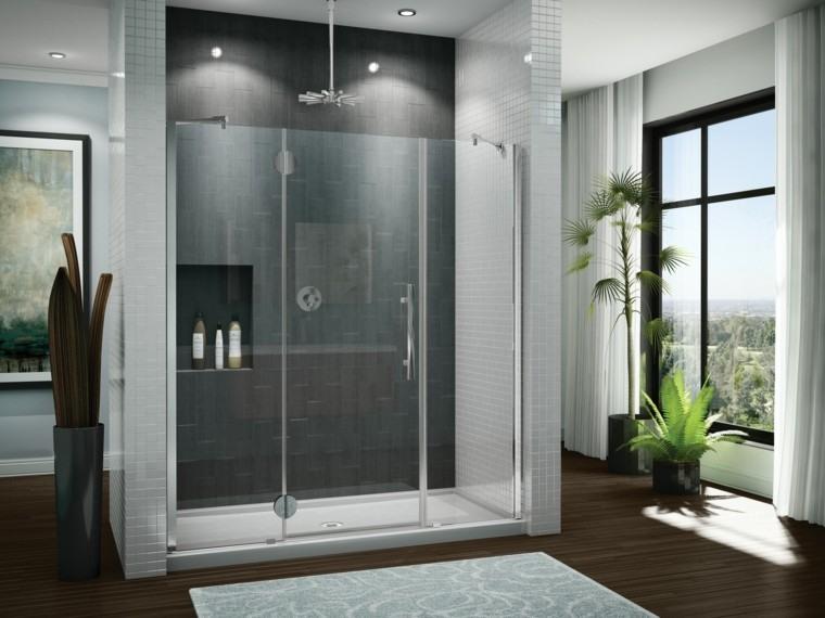 baños modernos con ducha lluvia cristales