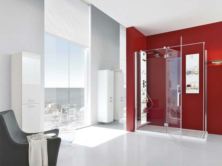 baños modernos con ducha rojo blanco