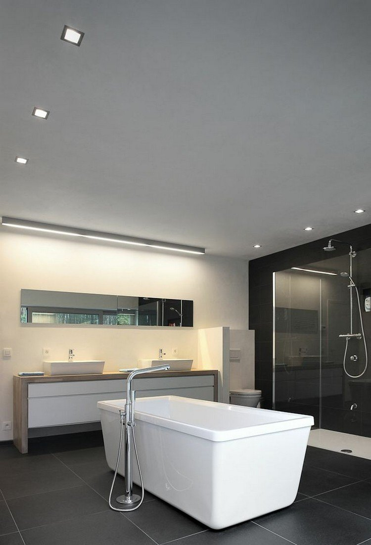 baño moderno techo gris