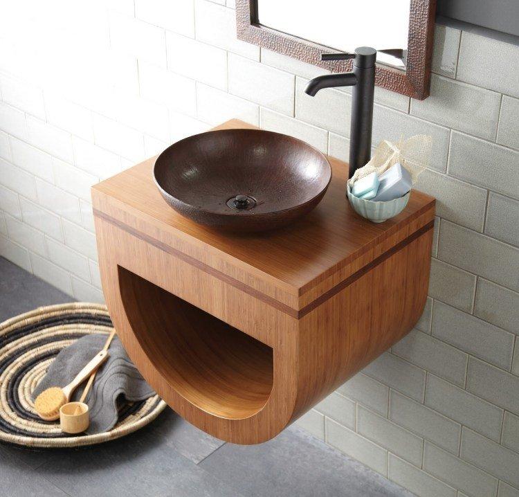 bambu muebles ideas baño lavabo espejo