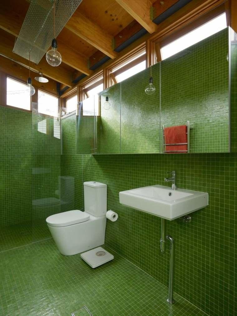 Baños Modernos Verdes:bano moderno colores vibrantes espejo verde ideas