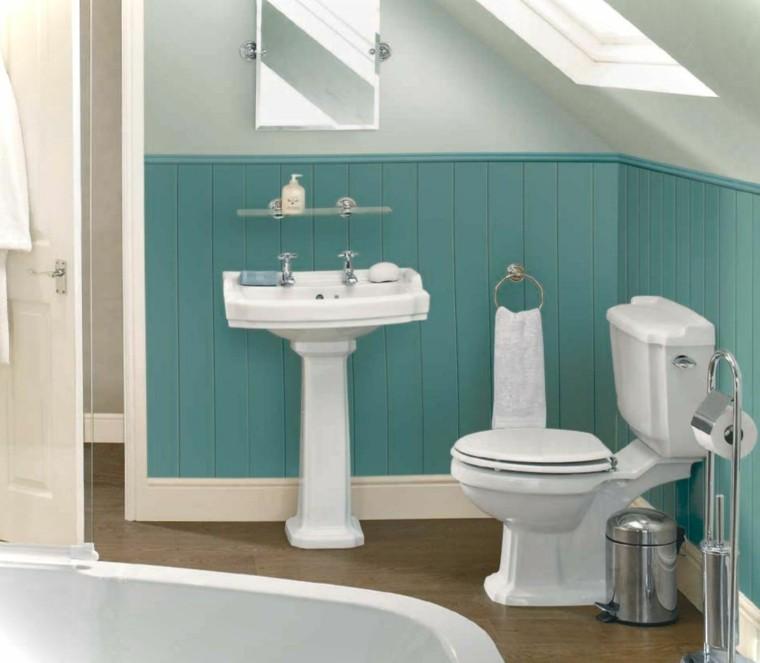Baños Color Verde Oscuro:banos modernos colores vibrantes losas suelo pared azul ideas