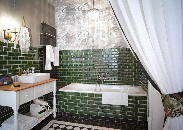 Baños Modernos Verdes:bano moderno colores vibrantes losas verde oscuro ideas