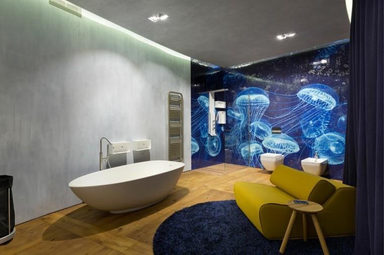 baños modernos colores vibrantes pared preciosa ideas