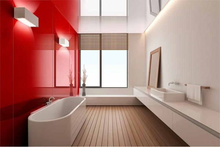 baño moderno colores vibrantes rojo blanco ideas