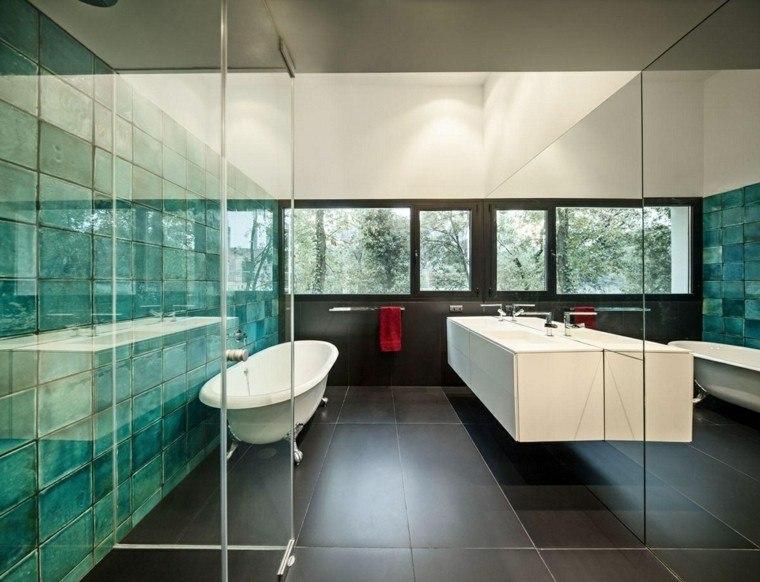 Baños Color Verde Oscuro:Baños modernos colores vibrantes para las paredes -