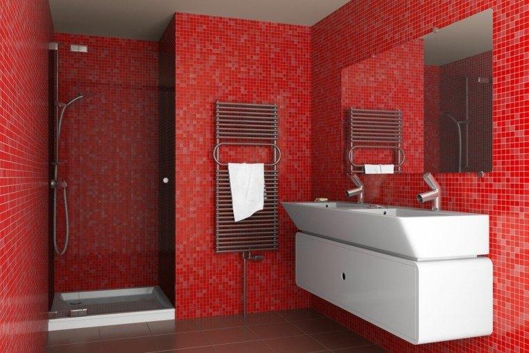 bano modernos colores vibrantes decoracion roja ideas