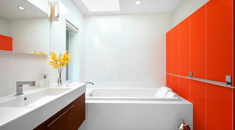 Baño De Color Rojo Oscuro:pared de color rojo en la pared del baño moderno
