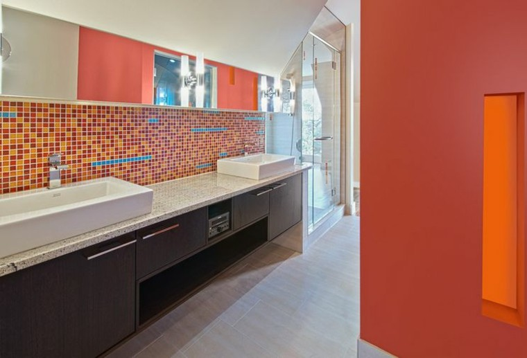 bano modernos colores vibrantes tonalidad naranaja ideas
