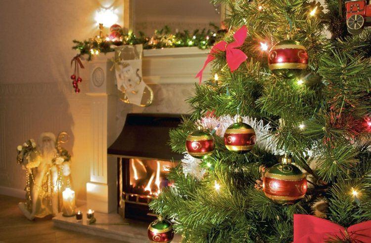 bolas de navidad diseños chimenea lazos