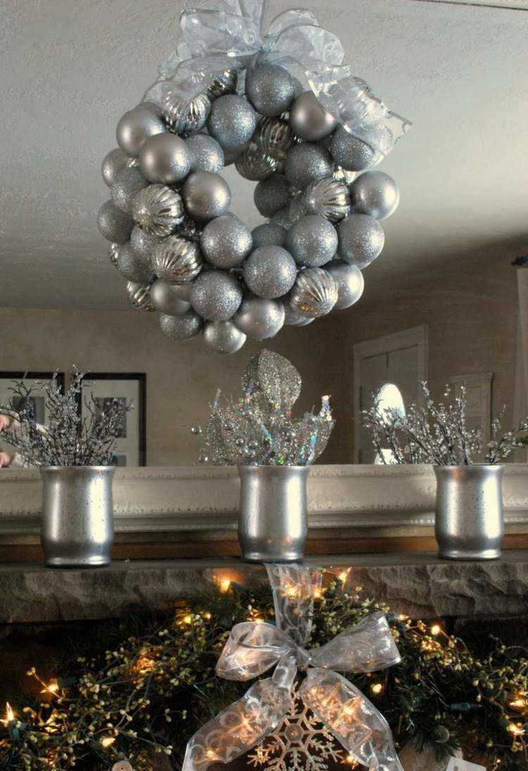 bolas de navidad diseños estilo plateado cintas