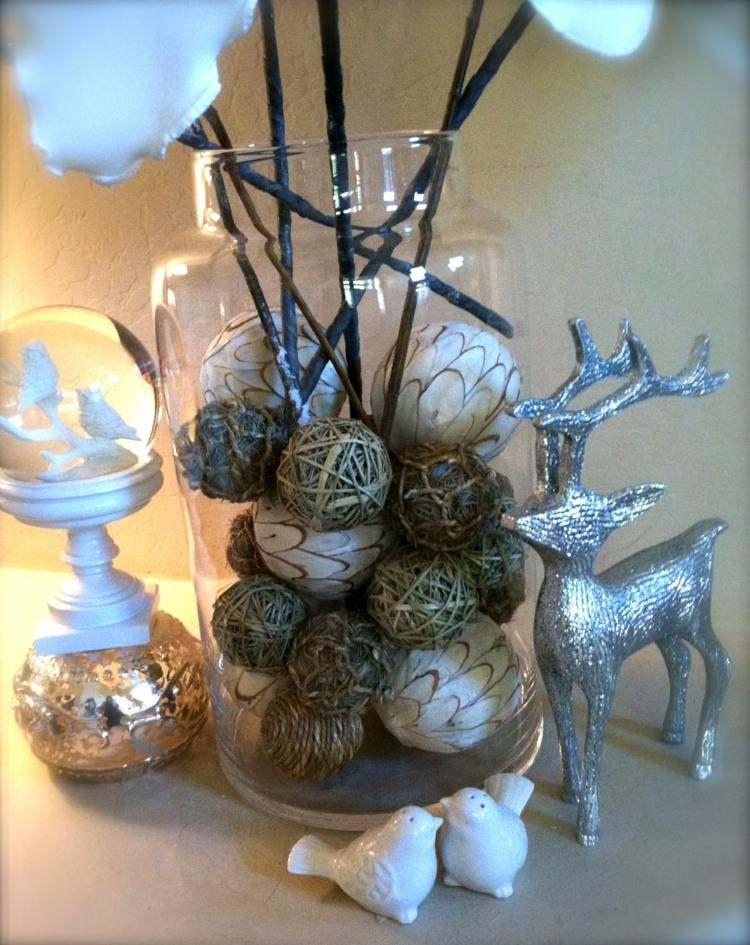 bolas de navidad diseños renos plateado pajaros