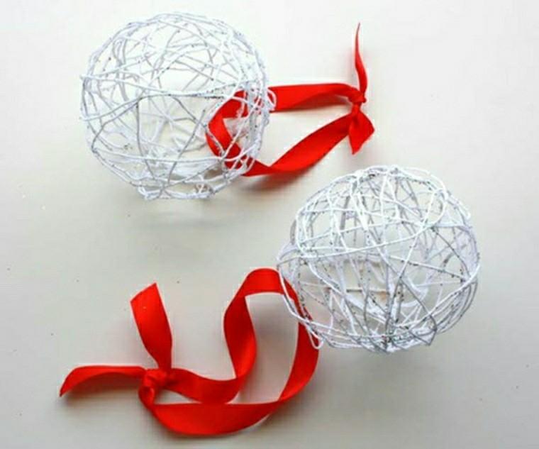 bolas navideñas alambre blanco ideas