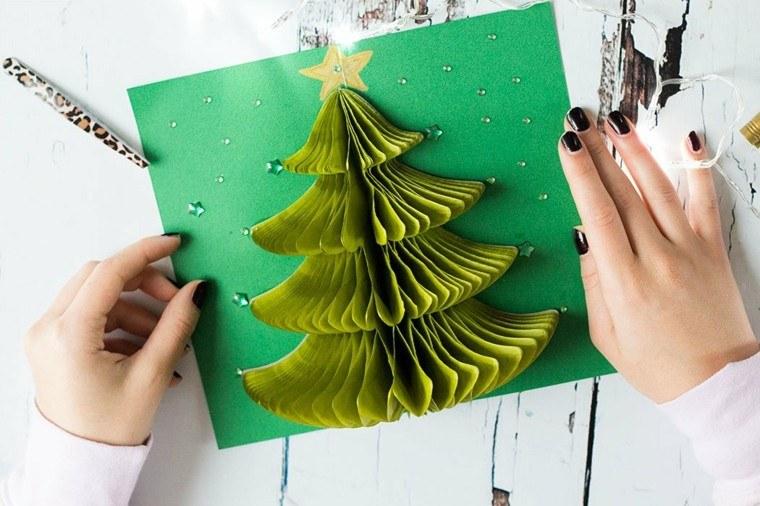 bonita tarjeta abeto 3D verde