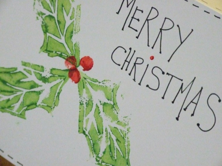 bonita tarjeta navideña casera muerdago