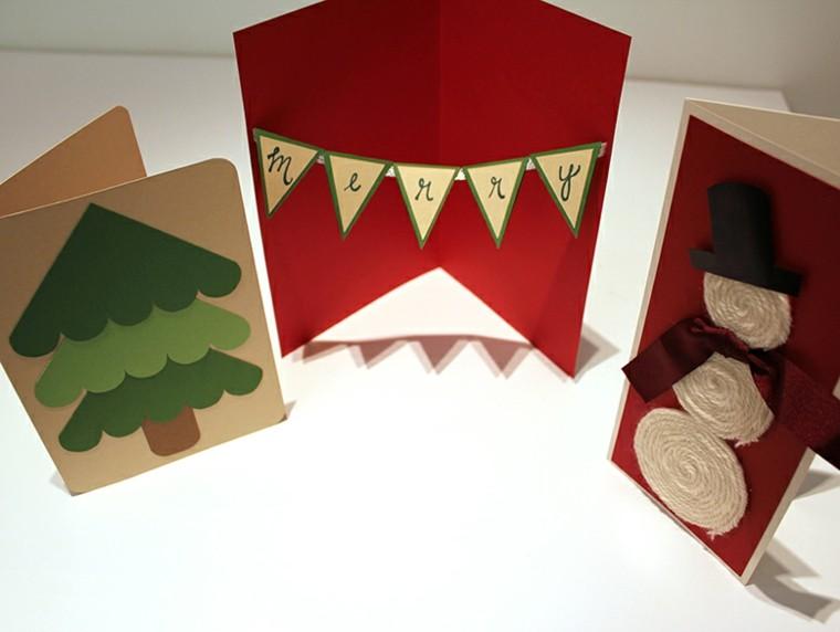 bonitas tarjetas navidad cartulina colores