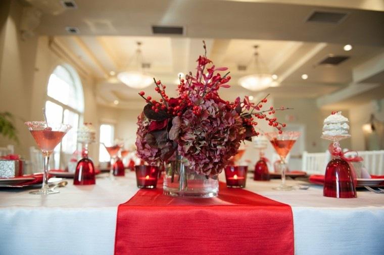centro mesa color rojo