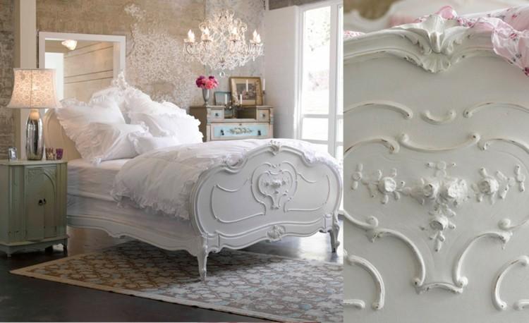 bonito diseño cama shabby blanca