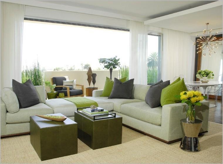 bonito diseño salón tonos verdes