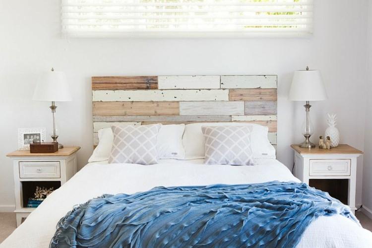 cabecero cama listones tablas madera