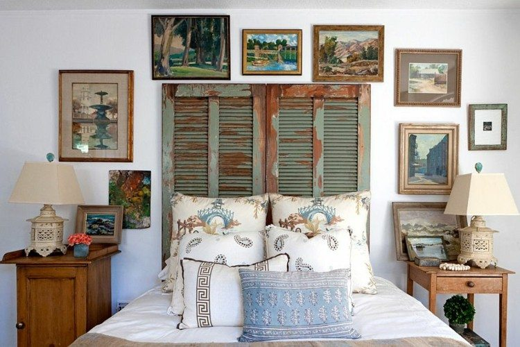 cabecero cama persiana madera verde