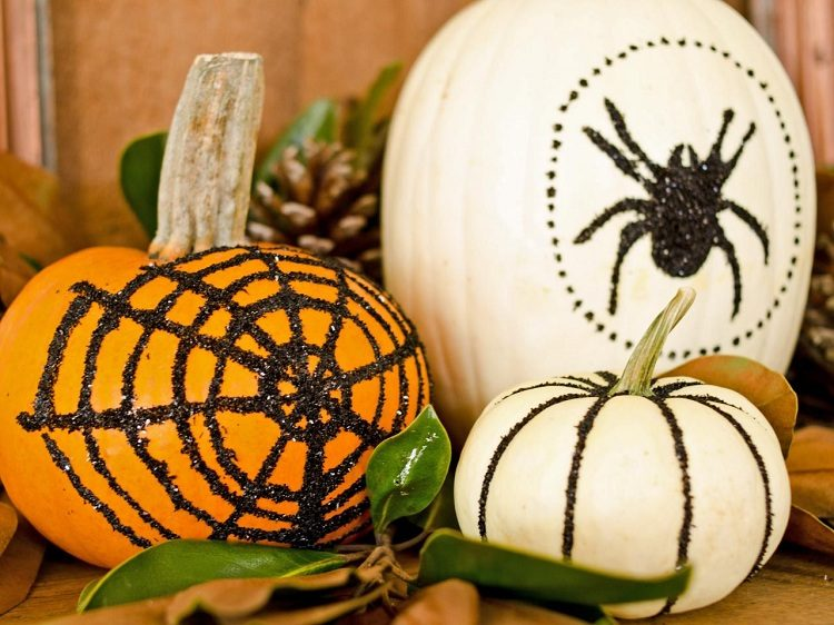calabaza de halloween ideas decoracion tela verde