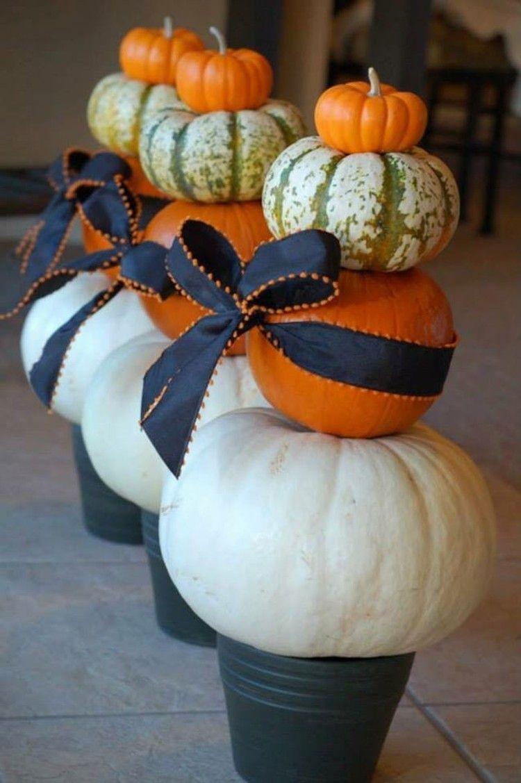 calabaza de halloween ideas decorativas cintas pequeñas
