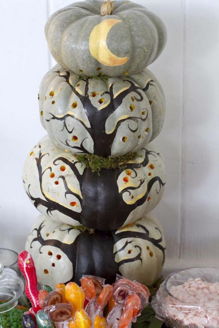 calabaza de halloween ideas frutas arboles