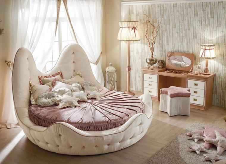 cama princesa redonda capitone beige