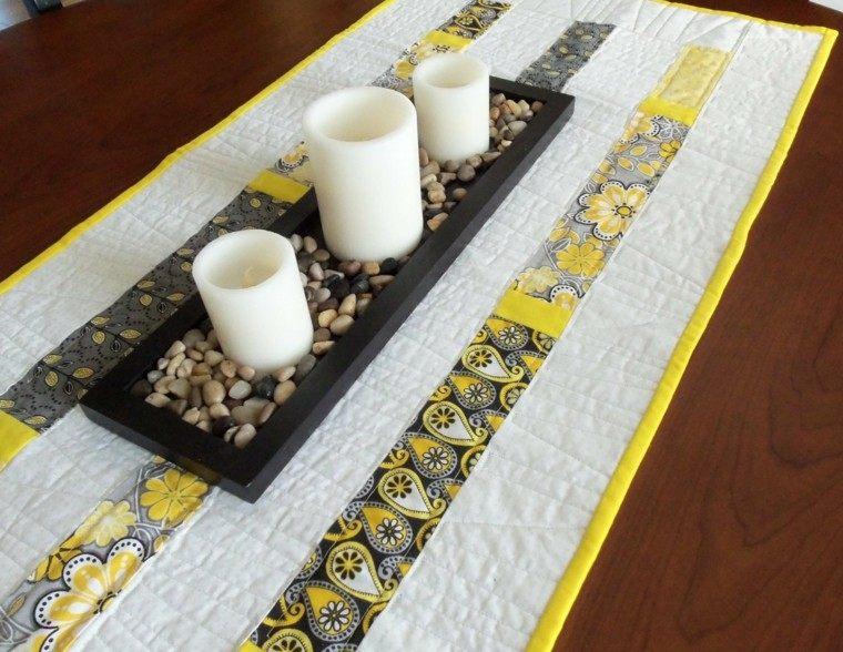 camino de mesa moderno dias fiesta amarillo blanco ideas - Caminos De Mesa