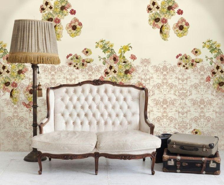 canape estilo vintage papel pared