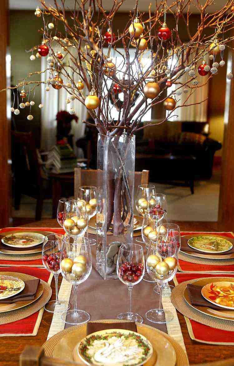 cena de navidad centros de mesa copas ideas
