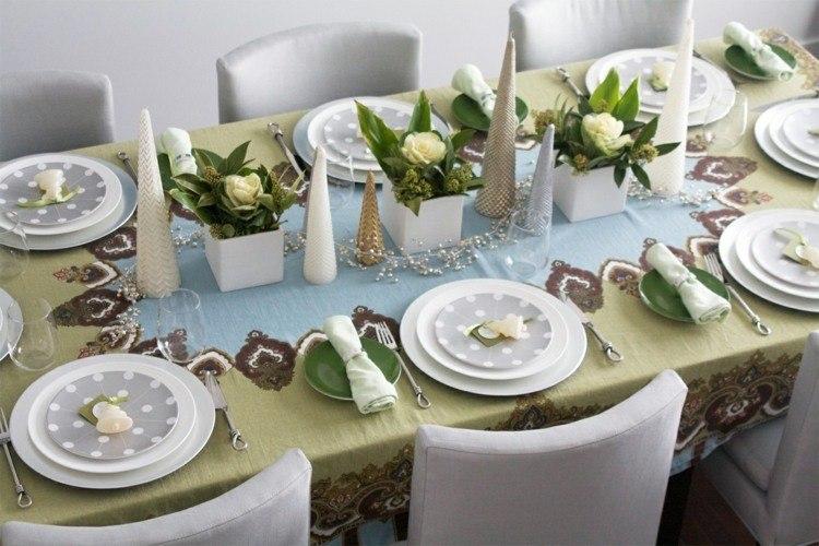 cena de navidad centros de mesa flores velas ideas