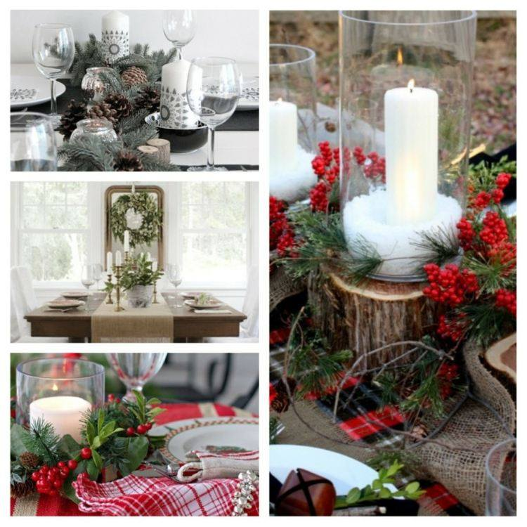 cena de navidad centros de mesa madera ramas ideas