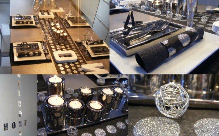 cena de navidad centros de mesa negro plata ideas