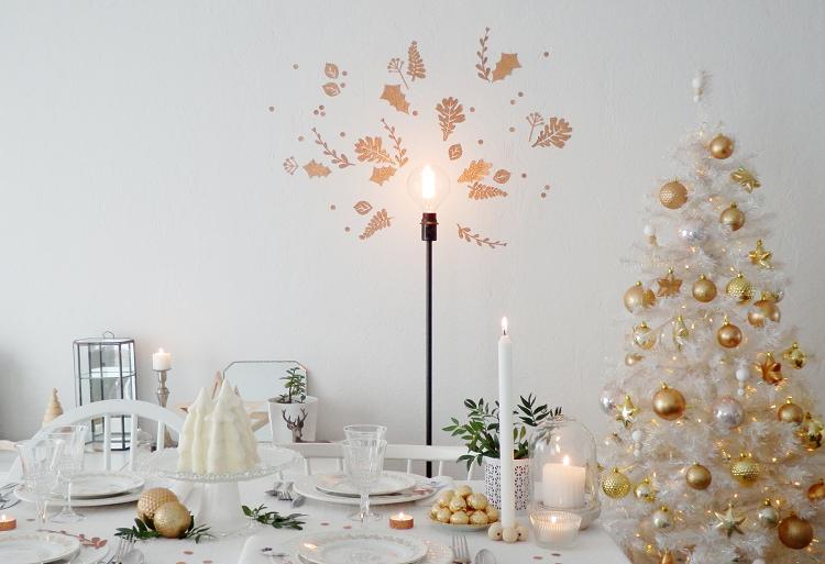 cena de navidad centros de mesa oro blanco ideas