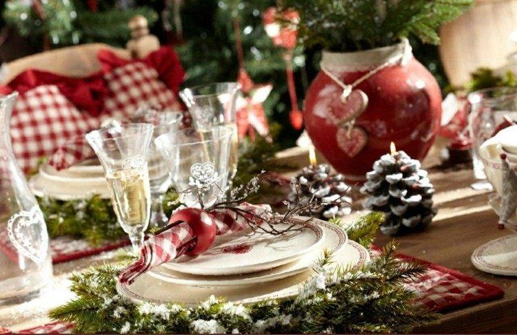 cena de navidad centros de mesa pinas abeto ideas