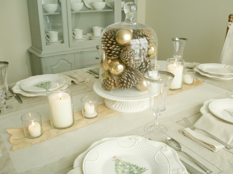 cena de navidad centros de mesa pinas bolas ideas