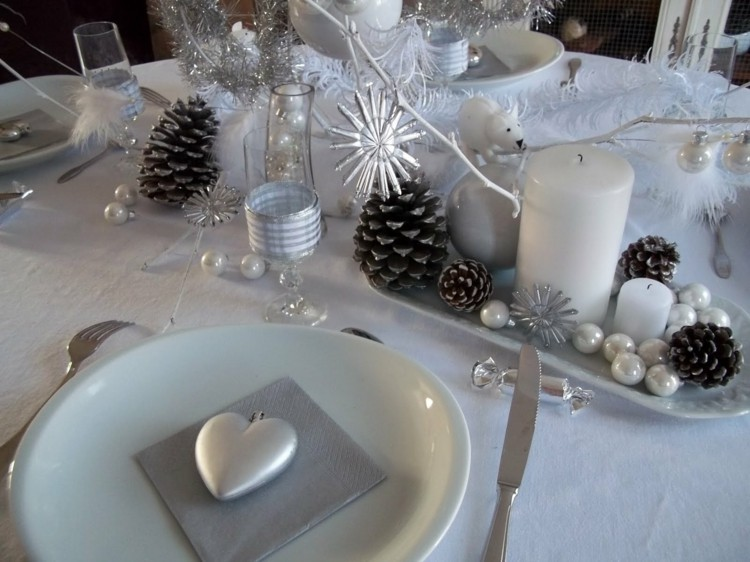 cena de navidad centros de mesa pinas velas ideas