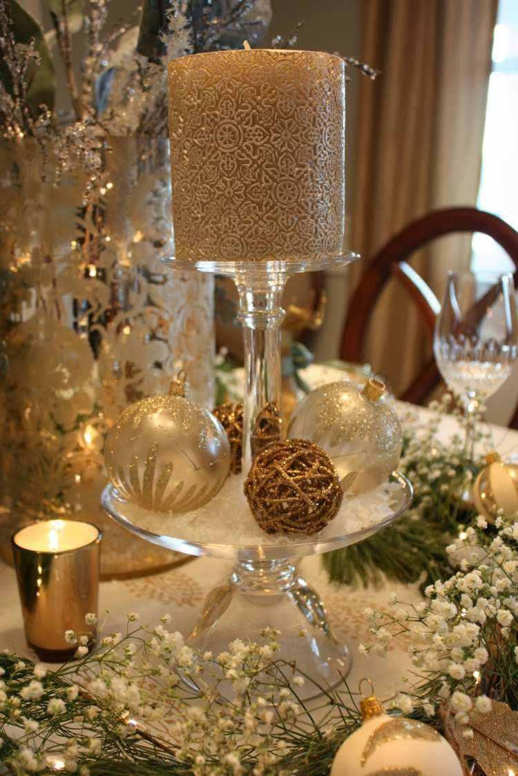 cena de navidad centros de mesa velas oro ideas