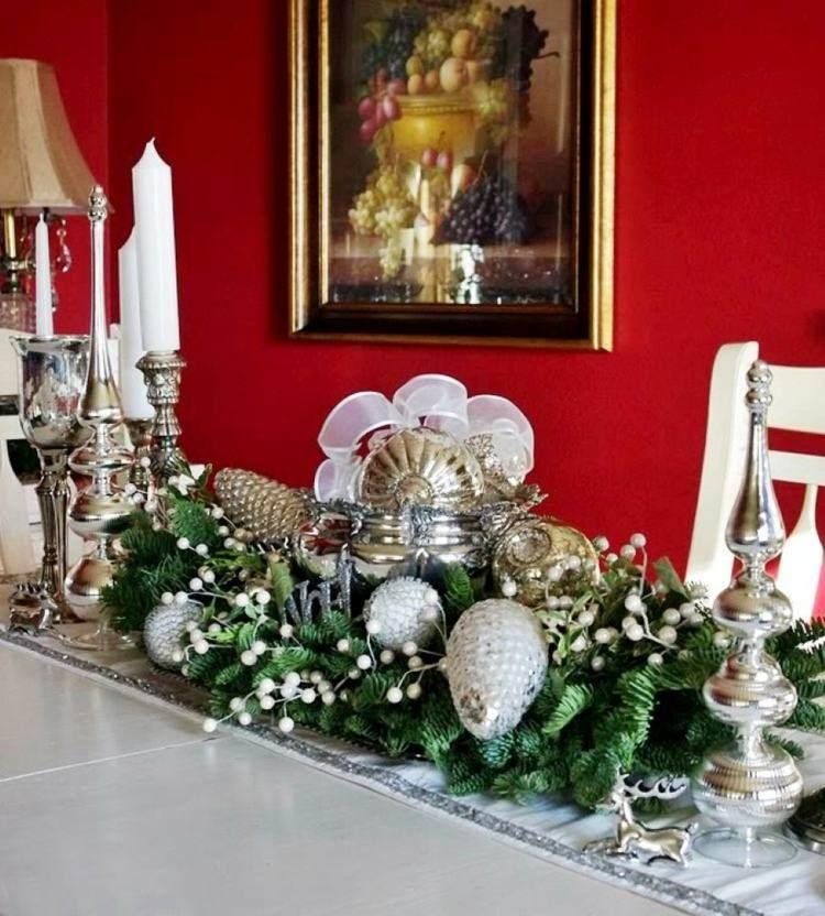 cena de navidad centros de mesa verde bolas ideas