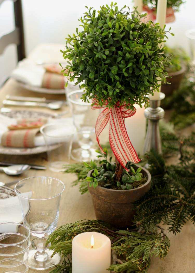cena de navidad centros de mesa verde natural ideas