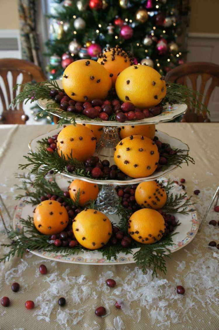 cena de navidad ideas centro naranjas